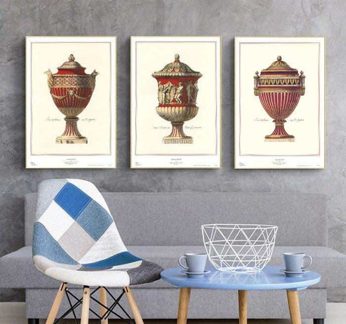 三幅一組油畫布  北歐美式古羅馬文藝聖杯  畫芯/畫布/30X40☺暖暖屋☺傢居藝術館