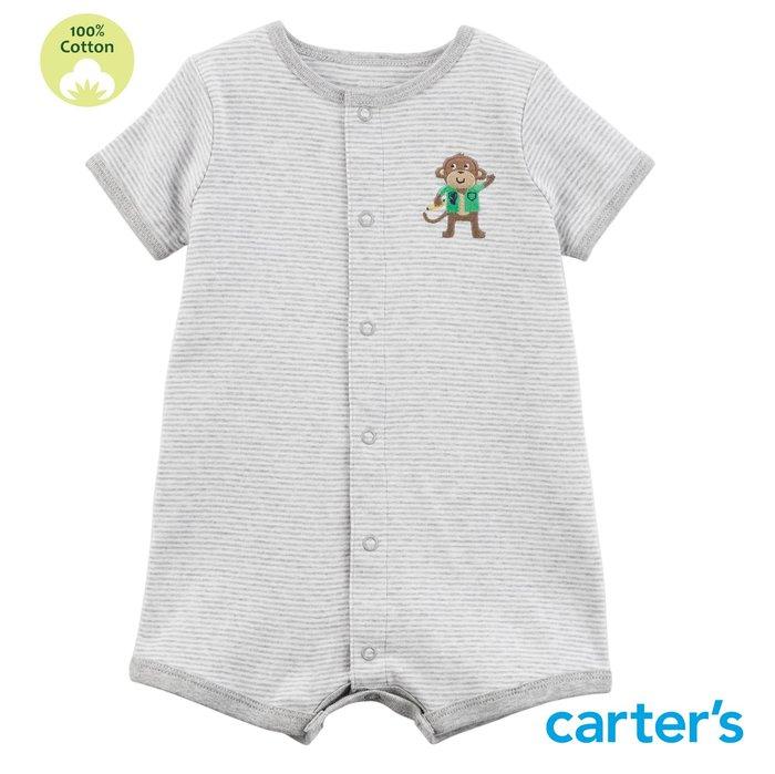 美國童裝 Carter's【100%純棉】男寶 開扣連身衣 短袖連身衣 包屁衣 爬服-好奇小猴子