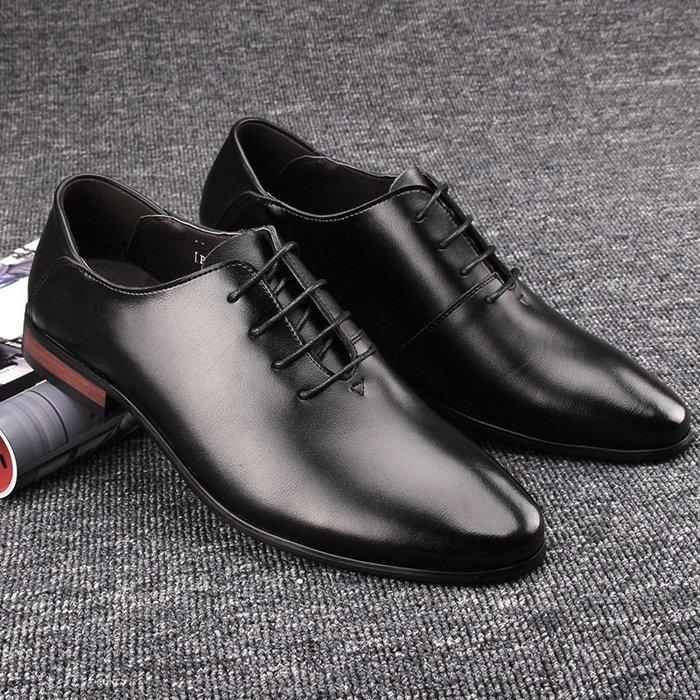 『老兵牛仔』CL-001透氣尖頭商務皮鞋/二層牛皮皮鞋/時尚/彈力/耐摩/個性