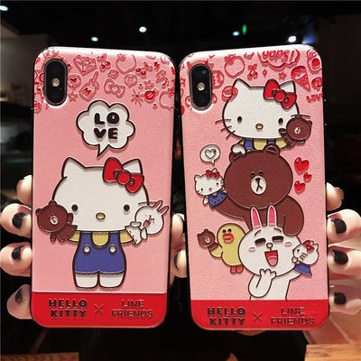 1039HELLO KITTY BROWN浮雕手機電話殼 IPHONE6 7 8 X PLUS XS XR XS MAX