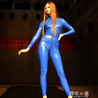 魅色高亮彈力鏡面乳膠氨緊身膠衣全身連體裝舞臺T臺走秀歐美GQ08