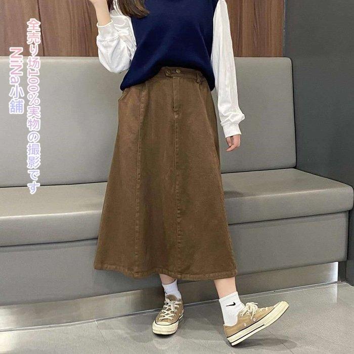 NiNa小舖【D71056】日單學院風純色磨毛棉鬆緊腰簡約百搭A字裙中長裙(黑色/咖啡)預購