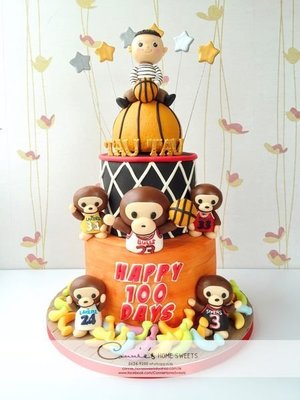 【Connie's Home Sweets】NBA Basketball theme 藍球 A Bathing Ape Baby Milo birthday cake 100 days cake