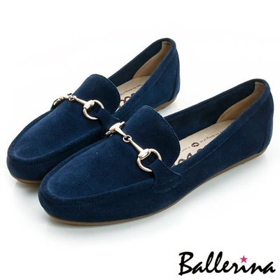 Ballerina-牛麂皮金屬鍊樂福鞋-藍【BS700008UE】