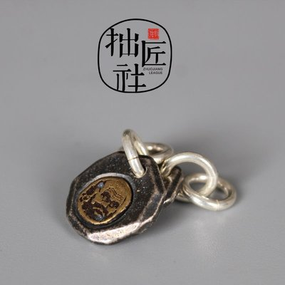 MOBIU古玩 純手工鑄制99足銀嵌黃銅達摩尊容掛牌吊墜 菩提手串108佛珠配飾件