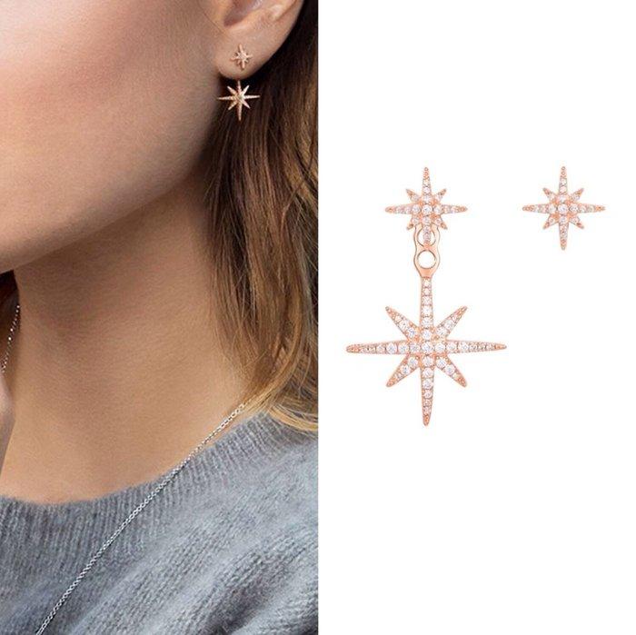 💎1401、經典絕美玫瑰金八芒星後掛式耳環(兩種戴法)💎正韓飾品 耳環 珠寶 925純銀針 EF083