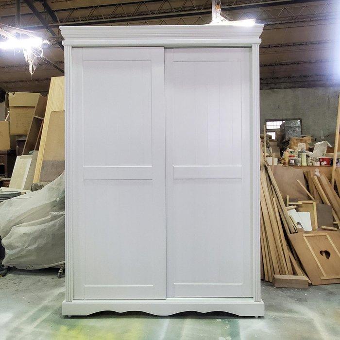 美生活館 全新 美式鄉村風格 客訂 雙推門 純白色 衣櫥 /衣櫃 收納櫃 也可修改尺寸顏色再報價