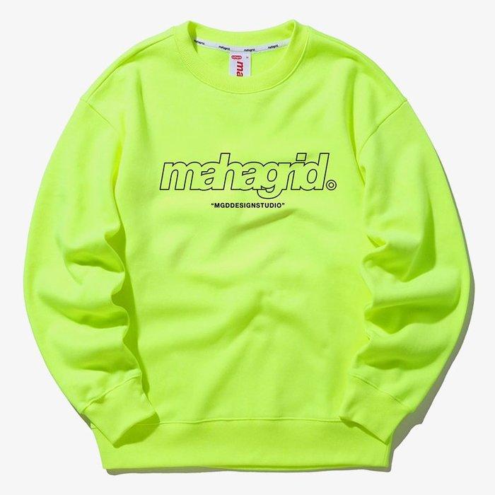 【QUEST】MAHAGRID - THIRD LOGO CREWNECK 框線LOGO大學T 螢光綠