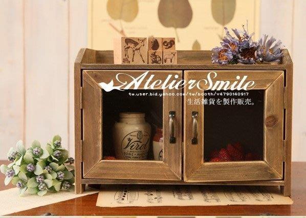 [ Atelier Smile ] 鄉村雜貨 古木舊木色 雙開門玻璃門櫃 展示櫃 璧掛收納櫃 (現+預)