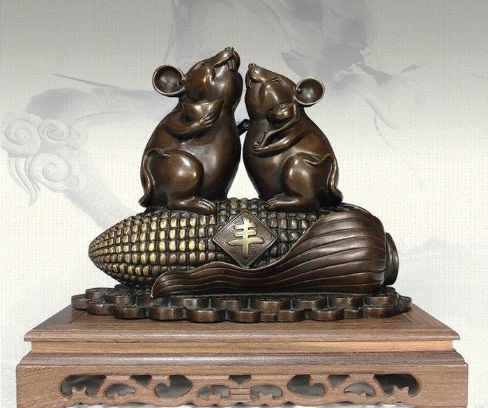 【凡了居】玉米老鼠大豐收 12生肖老鼠擺件 銅之運222