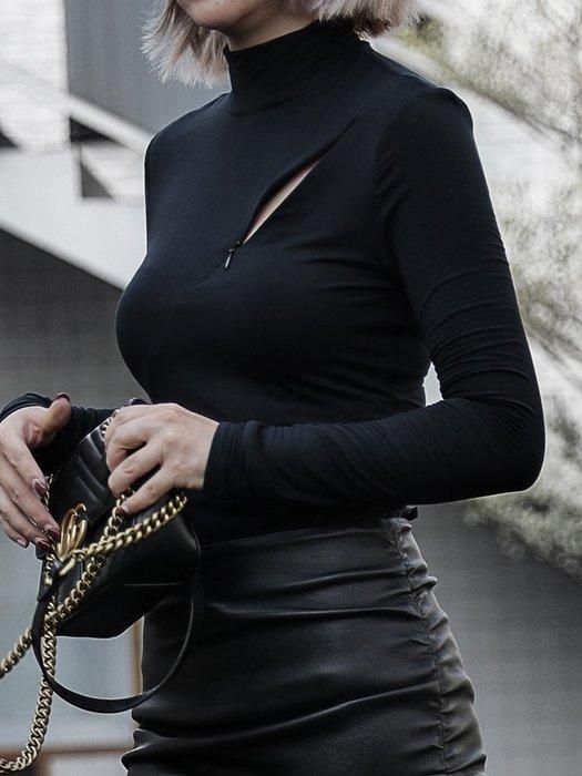 【鈷藍家】小眾品牌獨立設計小立領長袖修身T恤 莫代爾胸口拉鍊開口小心機打底衫Z