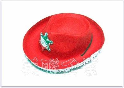 [美聯企業]全新台製警長牛仔帽附帽帶-(小款紅色)《整組6頂150元》(角色扮演/化妝舞會/表演道具帽子/警長帽)