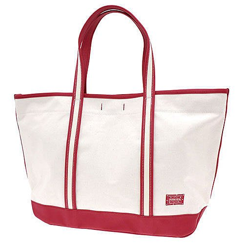 JAPAN PORTER 日本吉田PORTER GIRL BOYFRIEND TOTE BAG 米白底紅帶(L 6fb19d9403ee1