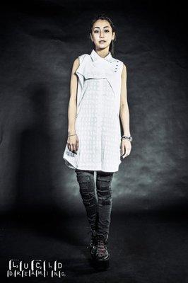 轉賣NU BY SLIGHTLY NUMB 2015-16 A/W MOOKID SHIRT DRESS印花背心洋裝 S