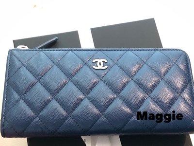 chanel L型金釦藍色長夾