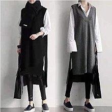 韓國 韓系 針織毛衣背心 無袖洋裝 開叉馬甲V領加厚中長款毛衣裙2F112.9740胖胖美依