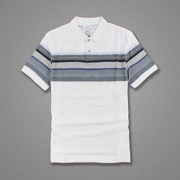 美國百分百【全新真品】Calvin Klein Polo衫 CK 短袖 上衣 網眼 白色 藍灰 條紋 XL號 G820