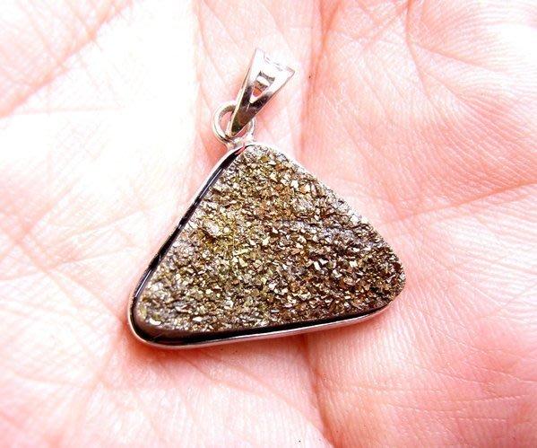 小風鈴~天然高檔七彩斑彩石墜子(重3.5g)又名~發達石.麒麟石(帶強烈金色光)餓金餓水