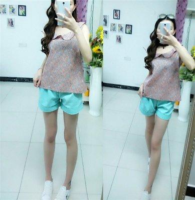 =EF依芙=韓國首爾 時尚精品 東大門同步 B788 新款娃娃領甜美女裝 時尚百搭印花女裝紐扣背心