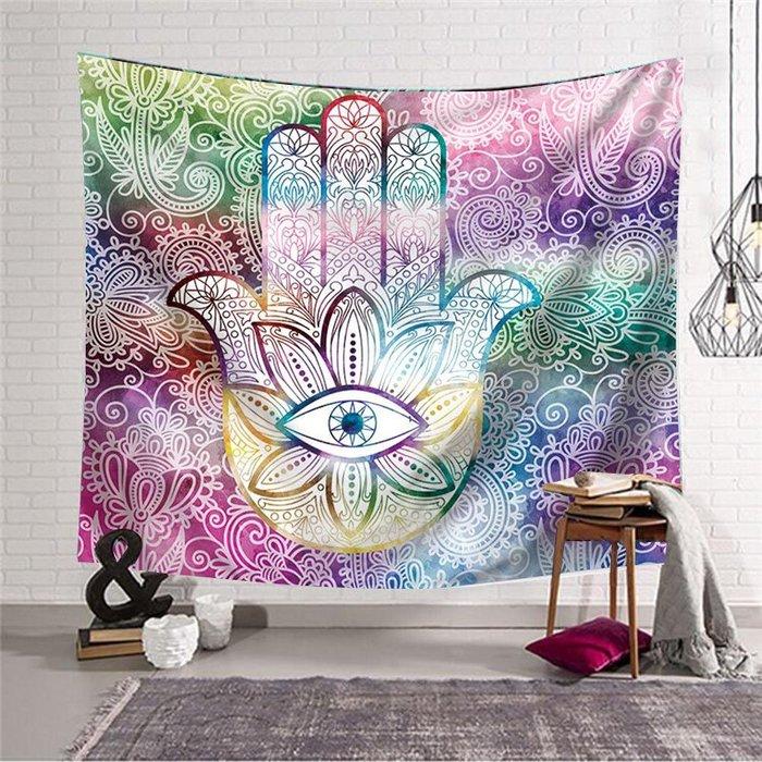 背景布 掛布 墻壁掛飾 背景墻 掛毯 外貿跨境波西米亞手掌紋墻壁裝飾掛毯墻壁掛布桌布背景布隔斷簾