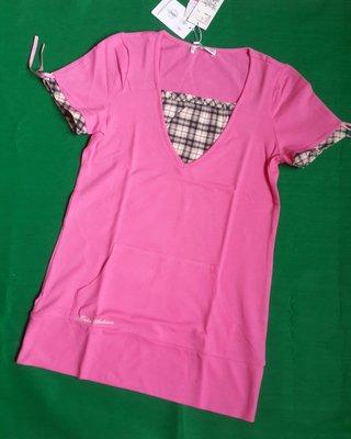 Kinloch Anderson金安德森全新經典桃紅色格紋點綴側肩袖抽繩蝴蝶結設計長版棉衫