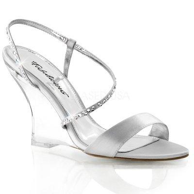 Shoes InStyle《四吋》美國品牌 FABULICIOUS 原廠正品緞面透明楔型高跟涼鞋  出清『銀色』