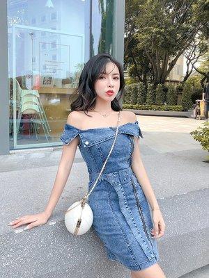 日韓女裝 洋裝 T恤 女褲 2019新款時尚韓版氣質漏肩一字領拉鏈收腰顯瘦綁帶連衣牛仔裙女潮