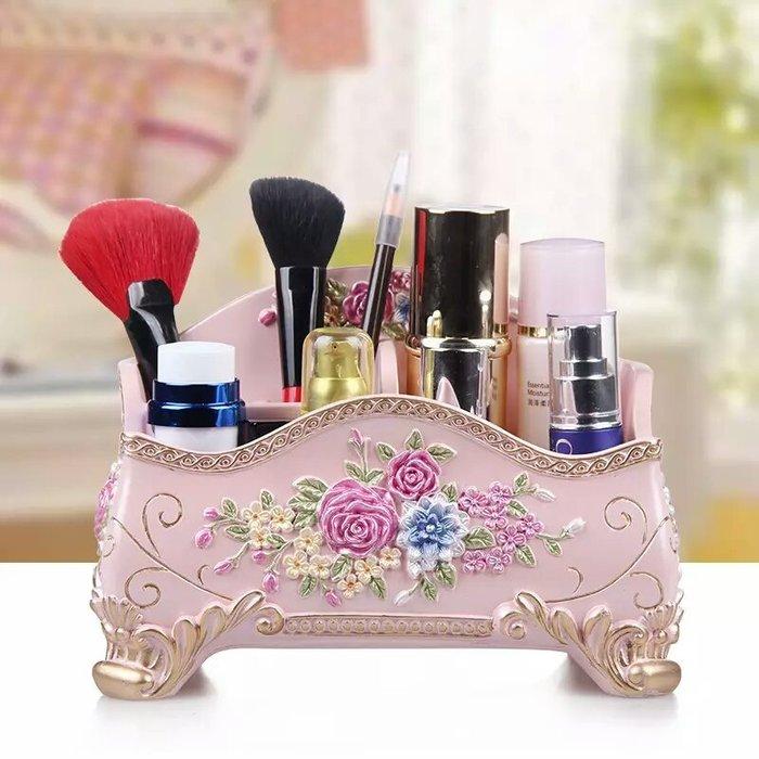 粉紅玫瑰精品屋~歐式復古玫瑰遙控器收納盒 製物盒~