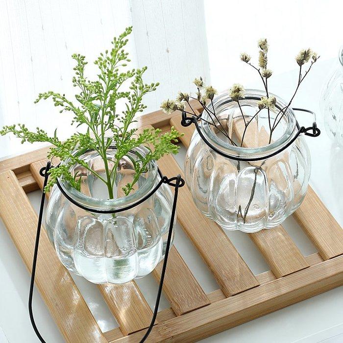 奇奇店-創意懸掛透明玻璃花瓶南瓜小吊瓶簡約水培花盆 室內園藝家居裝飾(買多件有優惠)