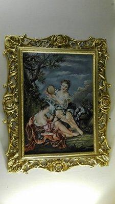 銅框   手繪  瓷畫 b  賣3萬