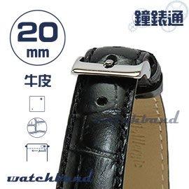 【鐘錶通】C1AC.27I《亮彩系列-手拉錶耳》鱷魚格紋-20mm 墨黑┝手錶錶帶/皮帶/牛皮錶帶┥