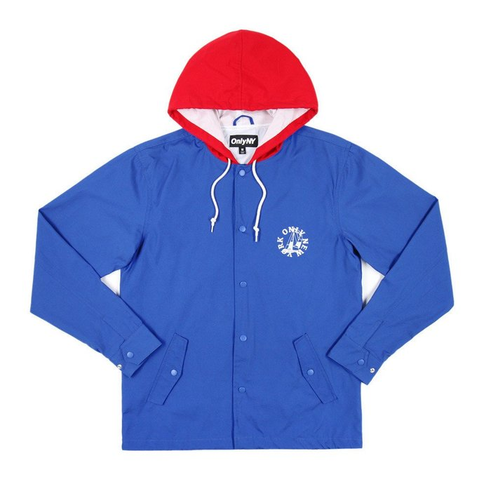 { POISON } ONLY NY NEWPORT HOODED COACH JACKET 防水拼接連帽教練外套 藍紅