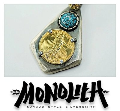 {BTO}【MONOLITH】Kingman松石 22K金紀念金幣 舊化菱形項鍊吊墜