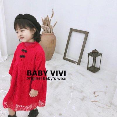 現貨免運❤️現貨。冬款。女童大紅蕾絲刷毛加絨中國改良式旗袍洋裝