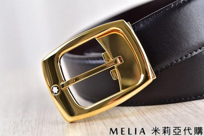 Melia 米莉亞代購 美國精品代購 Montblanc 萬寶龍 皮帶 腰帶 前星星標誌針扣 金色 純鏡面打磨 包裝齊全