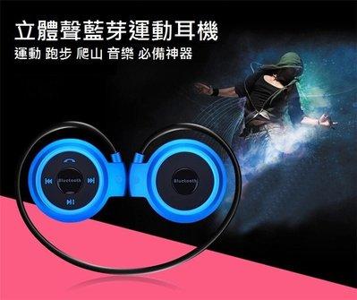 促銷-運動藍芽耳機mini 503/後掛頭戴式/支援TF插卡/支援FM收音機/支援所有藍芽裝置