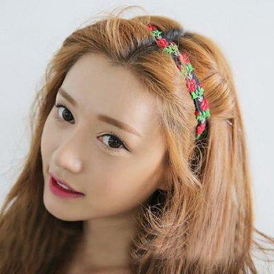 韓國刺繡花朵碎花髮箍 19元(隨機出貨)