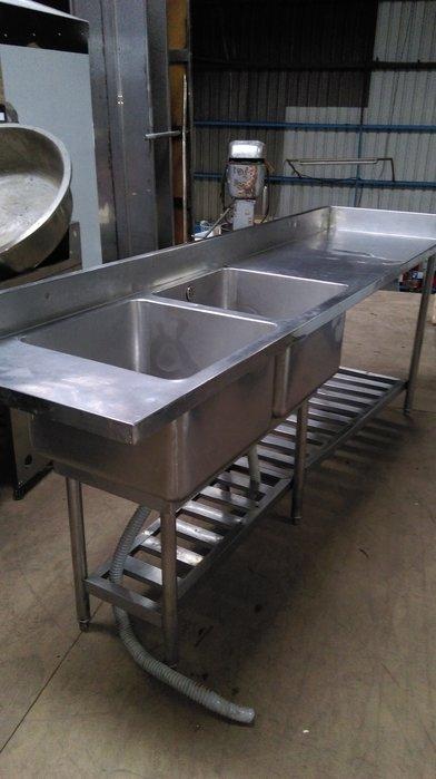 【泰裕二手貨餐具行】中古手工雙口三口水槽附平台(工作台攤車水槽)