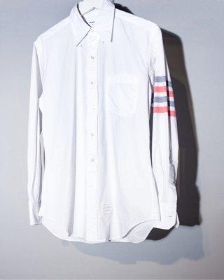 Thom Browne  4-BAR SOLID RWB STRIPE SHIRT 四槓 彩帶 手臂 襯衫