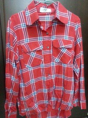 ☀APPLE SHOP☀ 紅色格子 長版 長袖襯衫上衣