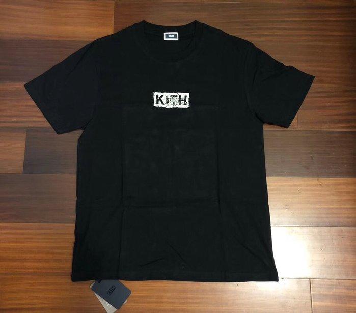 正品美國KITH潮牌紐約新款破裂box logo 黑色短袖T恤tee