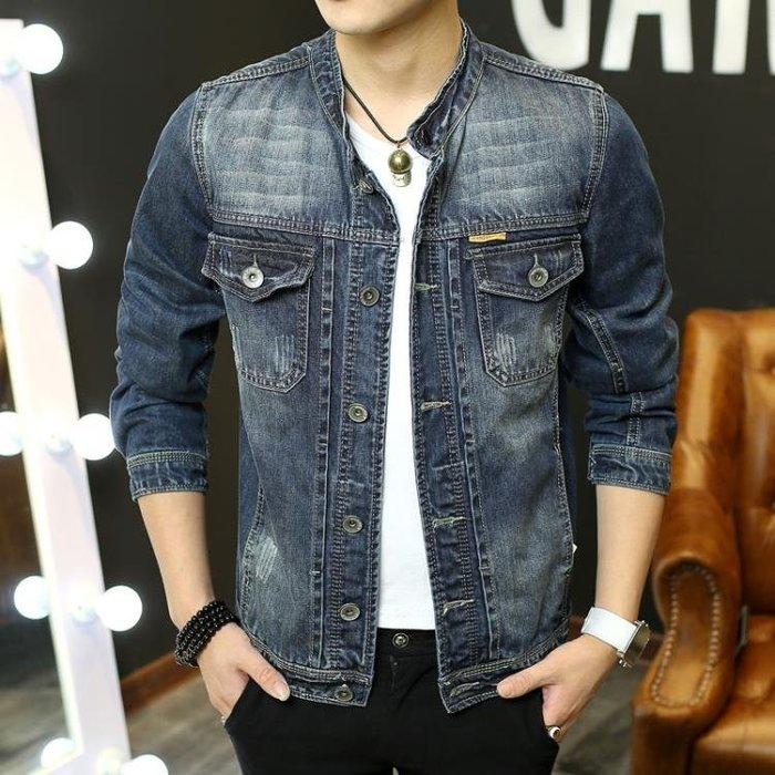 青年牛仔外套男韓版修身立領牛仔上衣長袖時尚男士夾克潮