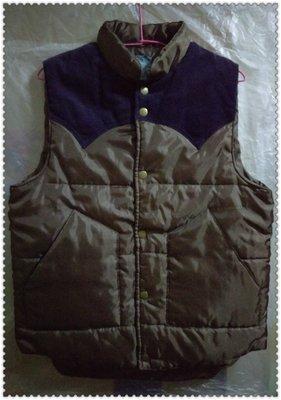 二手 咖啡色亮面尼龍/紫色條紋絨布 雙色拼接 薄款鋪棉 背心 外套 300含運費