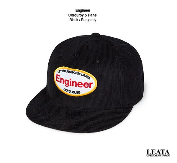 GOODFORIT / 韓國LEATA Engineer Corduroy Snapback燈芯絨五片式帽款/黑、深紅