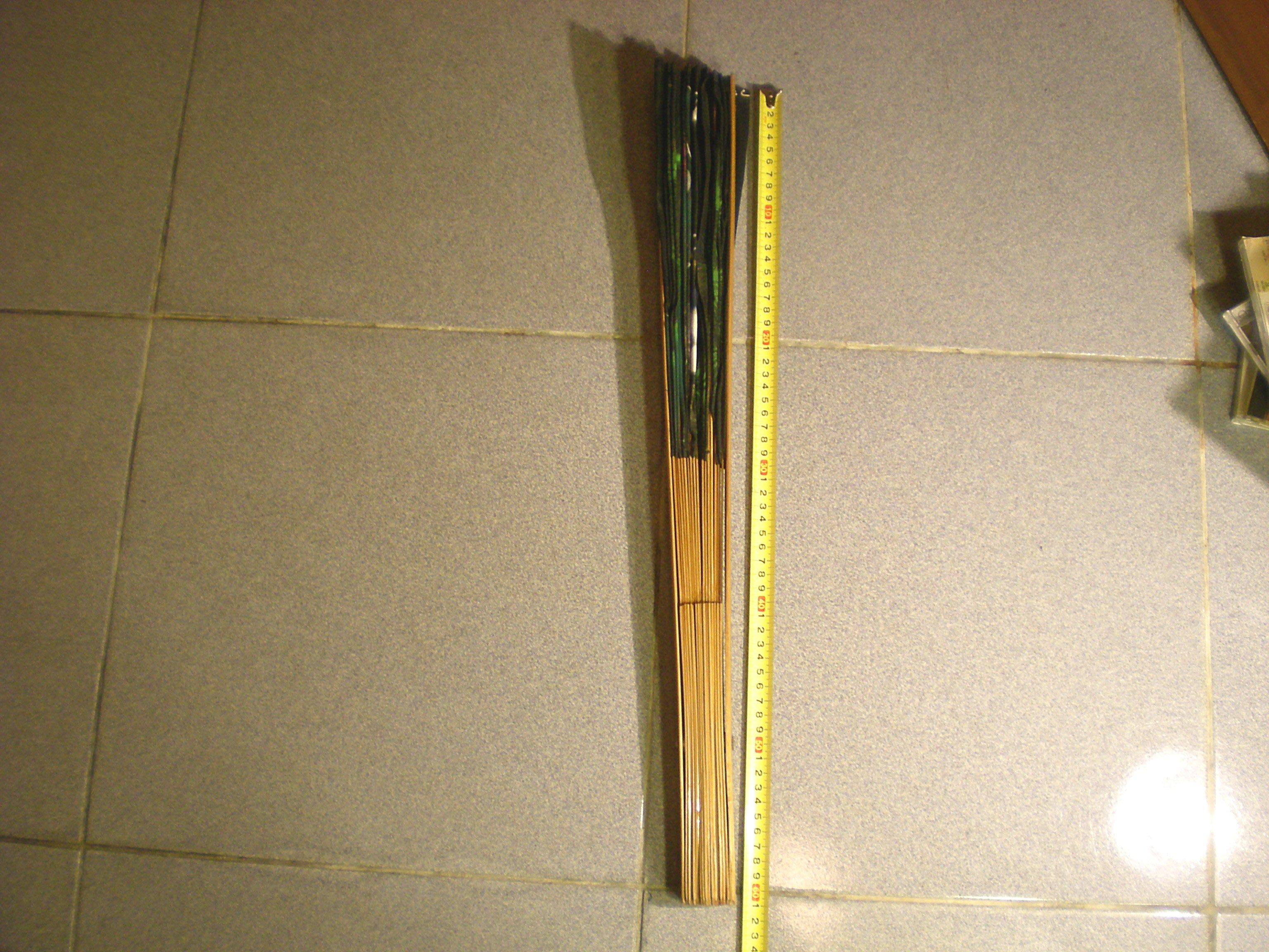鄉親@文化~早期懹舊收藏~早期竹器.手繪布畫扇子~孔雀開屏~約扇子高約61.2,展開約105~厚度約5