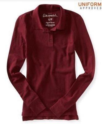 好穿!美國Aeropostale 女裝Long Sleeve Solid Uniform Pique Polo S號酒紅柔軟合身長袖網眼polo含運