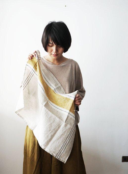 Lino e Lina-Home linen & linen wear 全麻 黃色 長型 條紋 手巾 桌巾 拭手巾