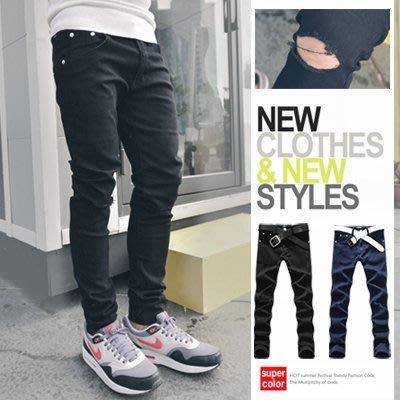 柒零年代【N9398J】膝蓋破壞設計素色小直筒牛仔褲(MIX-Q3738)notion