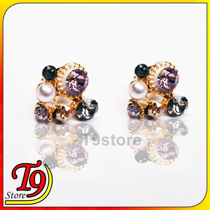 【T9store】韓國製 滿鑽小珍珠貼耳式鋼針耳環