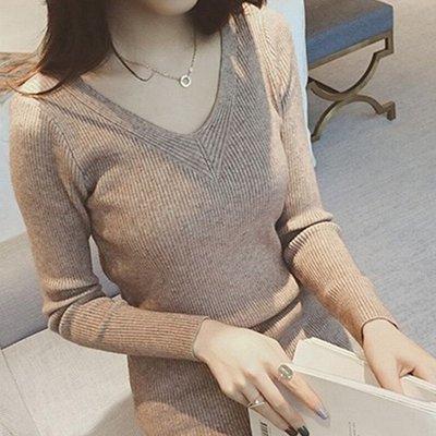 針織上衣毛衣 親膚V領細坑條彈力打底長袖針織衫 艾爾莎【TAE8000】